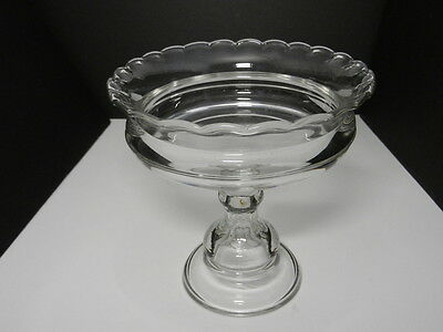 """EAPG High Footed Compote Clear Flint 7 3/4"""" T May be Fostoria Vigilant"""