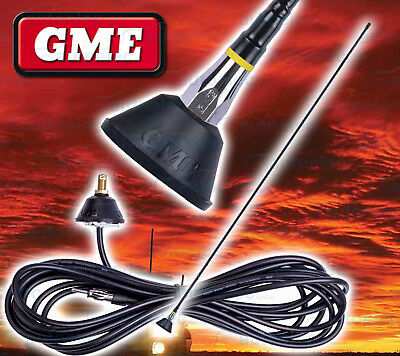 Gme 1Metre Fiberglass Am / Fm Radio Antenna Aerial + Base & Lead Hi Gain New