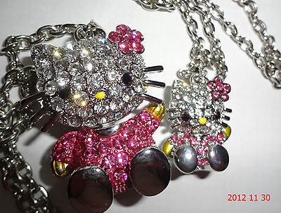 """HELLO KITTY BIG & LITTLE 3D PINK & SILVER WAVEING NECKLACE"" NICE SET"