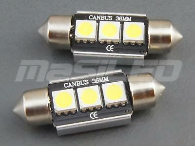 5 bombillas LED Canbus Festoon C5W 36mm 3 SMD 5050 blanco 5000K