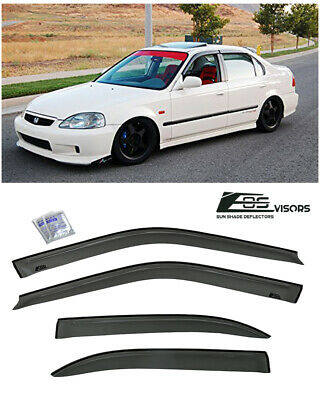 Fits 96-00 Honda EK Civic Sedan 4dr JDM Side Window Visors Rain Guards Deflector