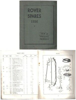 Rover P2 10 & 12 1936 Original Factory issued illustrated Spare Parts List