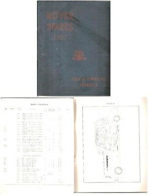 Rover P2 10 & 12 1937 Original Factory issued illustrated Spare Parts List
