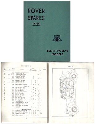 Rover P2 10 & 12 1939 Original Factory issued illustrated Spare Parts List