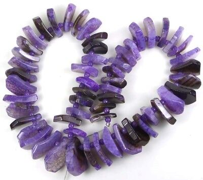 """20-25mm Spider Purple AGATE Slide Curved Drop Graduated Beads 16"""""""