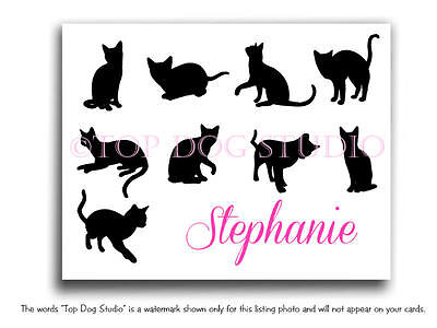ADORABLE Personalized CATS Thank You Note Cards Set of 12 CRAZY CAT LADY