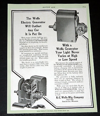 1913 Old Magazine Print Ad, Wells Generator, Will Outlast Any Car It Is Put On!