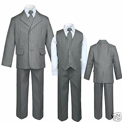 New Boys Formal Tuxedo Wedding Party Suit 5 pc set Gray Pinstripe New born to 20