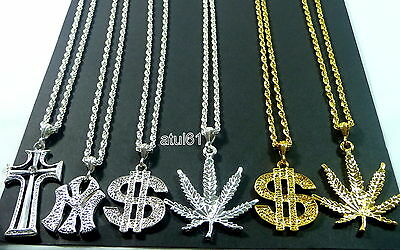 DOLLAR NY CROSS MEDALLION Necklace CHAIN HIP HOP Bling RAPPER GANGSTER Fancy NEW