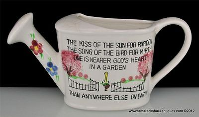 Norcrest White Watering Can Wall Pocket Garden Poem Japan Vintage Pink Trees