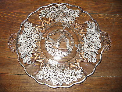 "BEAUTIFUL STERLING ON GLASS "" 25TH ANNIVERSARY ""  13-1/4""  PLATTER"