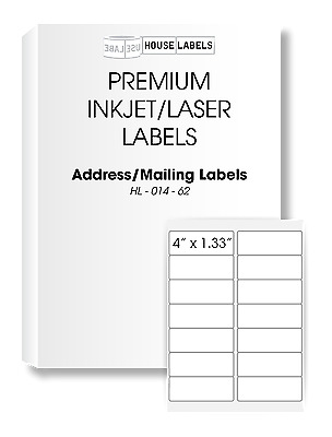 1000 Sheets 14000 Labels 4 x 1 1/3 Fast Peel White Address Mailing Labels 14 UP