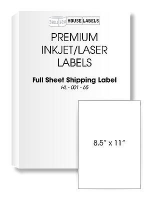 50 Sheets Full Sheet FAST PEEL 1-UP 8.5 x 11 White Shipping Labels
