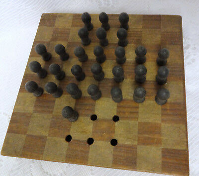 Asian Antique Wood Japan Chinese Checkers Peg Game Box