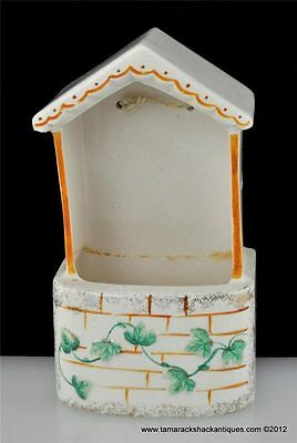 Vintage Japan Handpainted Covered Wishing Well Wall Pocket Ivy Leaf White Brick