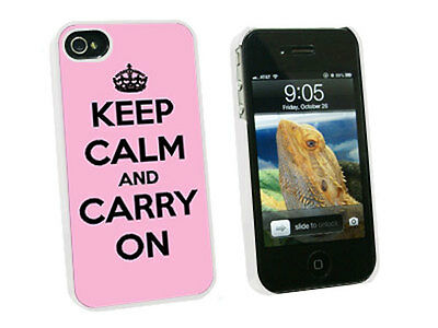 Keep Calm and Carry On Pink - Hard Protective Case for Apple iPhone 4 4S - White