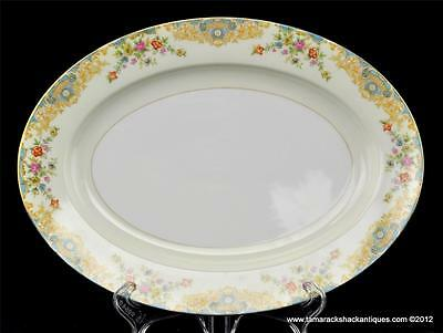 "Noritake Japan 11 3/4"" Oval Serving Platter Blue & Cream Colorful Floral Vintage"