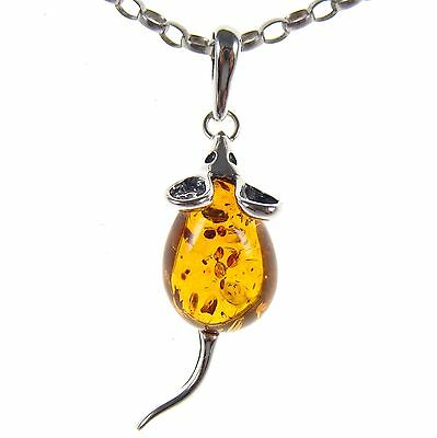 Gift Boxed Baltic Amber Sterling Silver 925 Mouse Pendant Jewellery Jewelry