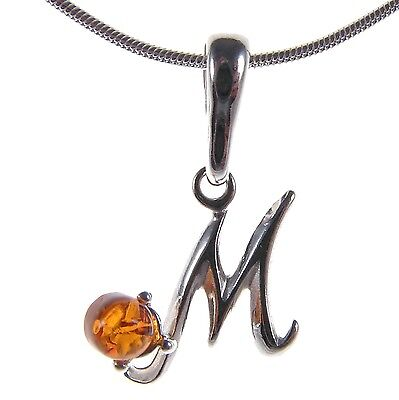 Baltic Amber Sterling Silver 925 Alphabet Letter M Pendant Necklace Jewellery