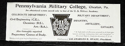 1900 Old Magazine Print Ad, Pennsylvania Military Preparatory College, Chester!