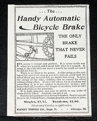 1900 Old Magazine Print Ad, Handy Automatic Bicycle Brake, Instant & Positive!