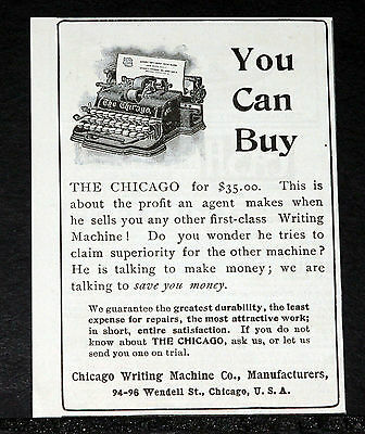 1900 Old Magazine Print Ad, The Chicago Typewriter, Is A First Class Machine!