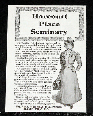 1900 Old Magazine Print Ad, Harcourt Place Seminary For Girls, Gambier, Ohio!