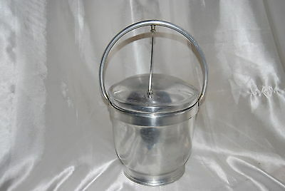 Vintage Aluminum Ice Bucket - Nasco-Italy - Hinged Opening With Handle