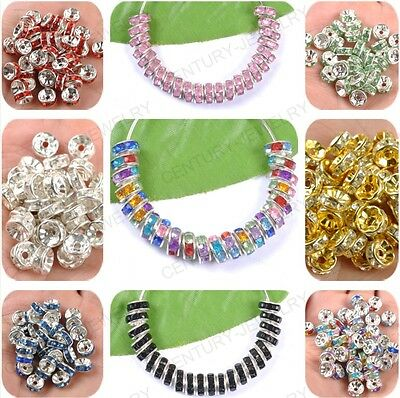 Lots 100pcs Acrylic Crystal Silver Plated Spacer Loose Charms Beads Findings 8MM