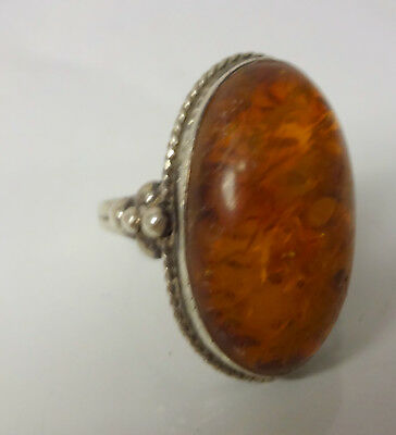 Antique Sterling Silver Mark Spiritual Amber Ring Size 8