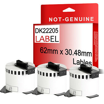 3 x Compatible Brother DK22205 Printer Label Roll 62 x 30.48m for QL550 560 570