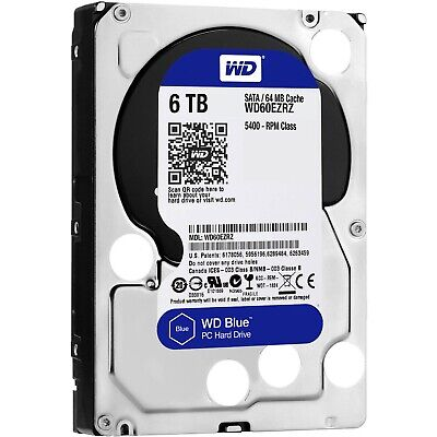 "Western Digital WD Blue 6TB 3.5"" SATA Internal Desktop Hard Drive HDD 5400RPM"