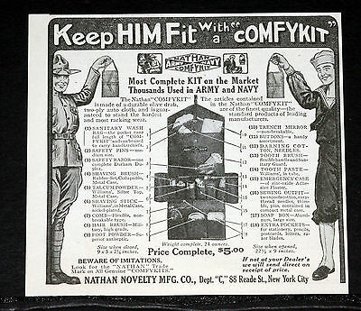"1918 Old Wwi Magazine Print Ad, Keep Soldiers Fit With A ""comfykit"" Army & Navy!"
