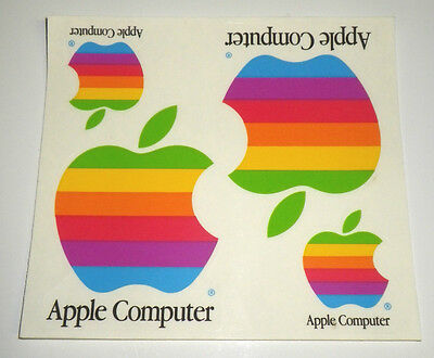 """4 Vintage 1980's Apple Computer Stickers AUTHENTIC, Old Rainbow Logo! 4"""" & 2"""""""