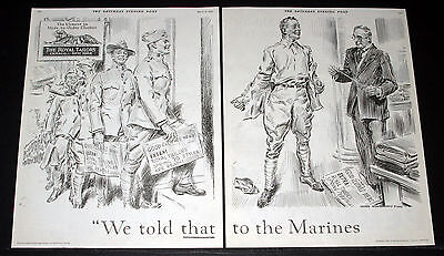 1919 Old Magazine Print Ad, Royal Tailors, James Montgomery Flagg, Marines Art!