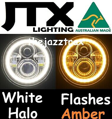 "Toyota Landcruiser HZJ75 75 78 79 series JTX LED WHITE Halo 7"" Headlights AMBER"