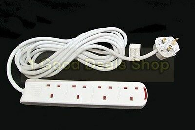 5m 4 Way Extension Cable Lead Gang Mains Plug Socket 5 m Metre UK 4 Sockets