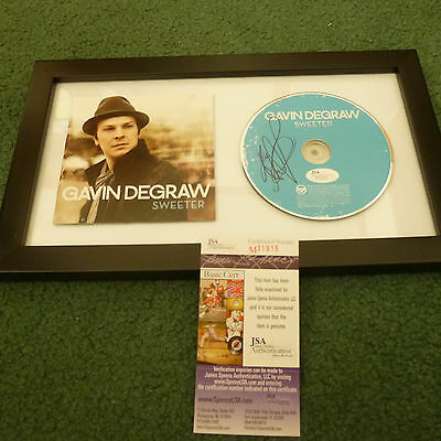 Gavin Degraw Framed Autographed Sweeter Cd Signed Jsa Authenticated