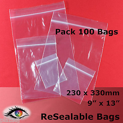 """100 x ReSealable Zip Lock Click Seal Poly Bags 230x330mm 9""""x13"""" #RB4913"""