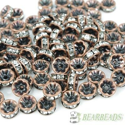 100Pcs Czech Crystal Rhinestone Copper Rondelle Beads 4mm 5mm 6mm 8mm 10mm 12mm