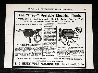 """1907 Old Magazine Print Ad, """"hisey"""" Portable Electrical Tools, Drill & Grinder!"""