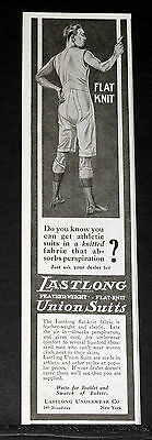 1918 Old Magazine Print Ad, Lastlong Feather-Weight, Flat-Knit, Union Suits!