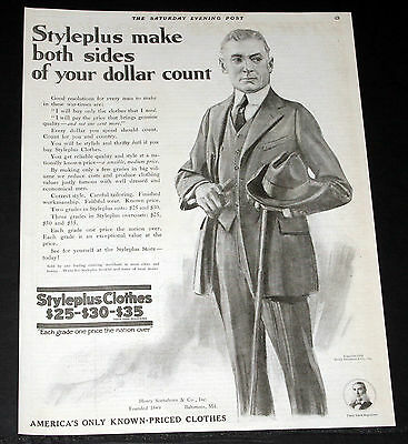 1918 Old Magazine Print Ad, Sonneborn Styleplus Clothes, Make Your Dollar Count!
