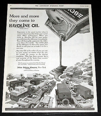 1918 Old Magazine Print Ad, Indian Refining, More & More Come To Havoline Oil!