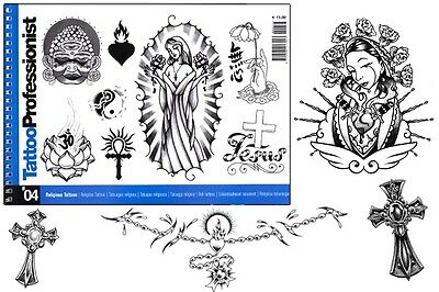 PRO RELIGIOUS FLASH BOOK 4 Tattoo Arties Supply 82-Pages Religious Cross Design