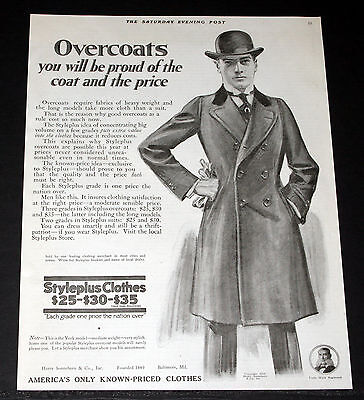 1918 Old Magazine Print Ad, Sonneborn Styleplus Clothes, Proud Of The Overcoats!