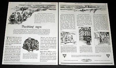 1918 Old Wwi Magazine Print Ad, Y.m.c.a, Supporting The War, Soldiers In France!