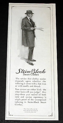 1918 Old Wwi Magazine Print Ad, Stein-Bloch Clothes, Unsurpassed Tailoring, Art!