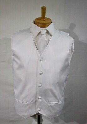 Mens Wedding Suit Vest Waistcoat-White Woven Jacquard - Matching Tie Kerchief