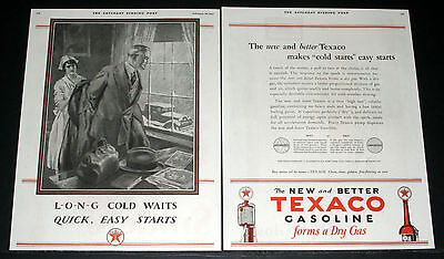 1927 Old 2-Pg Magazine Print Ad, Texaco Gasoline Forms A Dry Gas, Doctor Art!